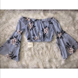 Lavender and floral bell sleeve crop top size L